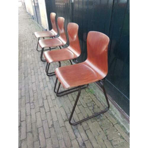4 Vintage prima Pagholz West Germany slede school stoelen